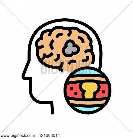 Brain Vessel Congestion Color Icon Vector. Brain Vessel Congestion Sign. Isolated Symbol Illustratio