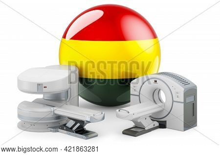 Mri And Ct Diagnostic, Research Centres In Bolivia. Mri Machine And Ct Scanner With Bolivian Flag, 3