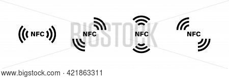 Nfc Icons Collction. Contactless Payment Sign, Symbol. Nfc Wireless Payment Icons Set. Card With Nfc