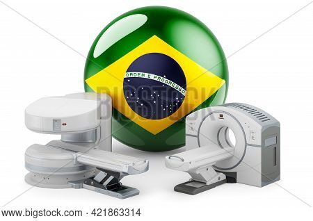 Mri And Ct Diagnostic, Research Centres In Brazil. Mri Machine And Ct Scanner With Brazilian Flag, 3