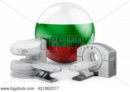 Mri And Ct Diagnostic, Research Centres In Bulgaria. Mri Machine And Ct Scanner With Bulgarian Flag,