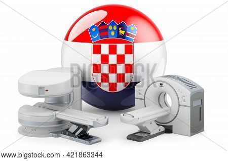 Mri And Ct Diagnostic, Research Centres In Croatia. Mri Machine And Ct Scanner With Croatian Flag, 3