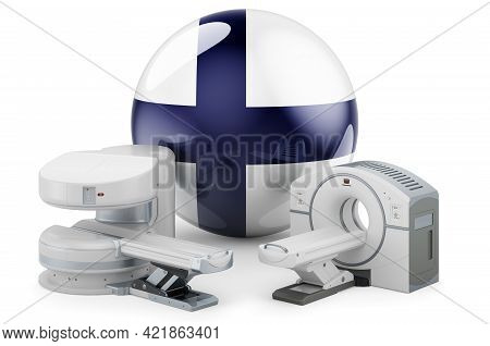 Mri And Ct Diagnostic, Research Centres In Finland. Mri Machine And Ct Scanner With Finnish Flag, 3d
