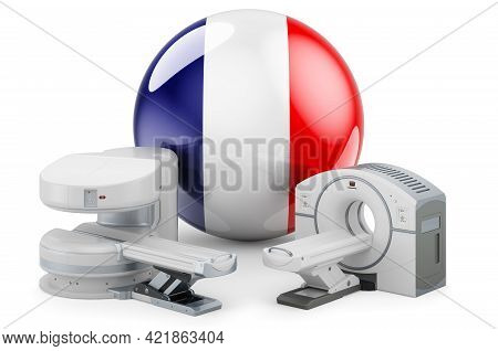 Mri And Ct Diagnostic, Research Centres In France. Mri Machine And Ct Scanner With French Flag, 3d R