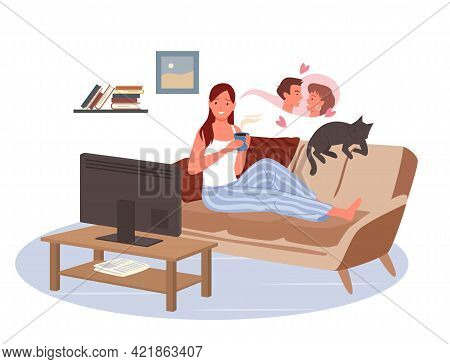 Girl Watching Tv In Home Living Room, Young Woman Laying On Couch To Watch Love Movie