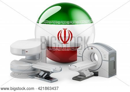 Mri And Ct Diagnostic, Research Centres In Iran. Mri Machine And Ct Scanner With Iranian Flag, 3d Re