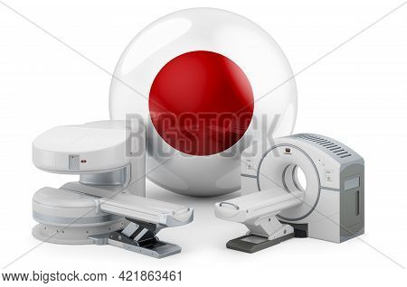 Mri And Ct Diagnostic, Research Centres In Japan. Mri Machine And Ct Scanner With Japanese Flag, 3d