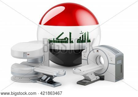 Mri And Ct Diagnostic, Research Centres In Iraq. Mri Machine And Ct Scanner With Iraqi Flag, 3d Rend