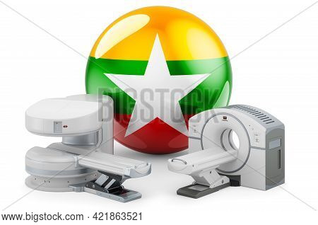 Mri And Ct Diagnostic, Research Centres In Myanmar. Mri Machine And Ct Scanner With Myanmar Flag, 3d
