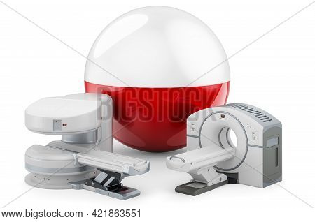 Mri And Ct Diagnostic, Research Centres In Poland. Mri Machine And Ct Scanner With Polish Flag, 3d R
