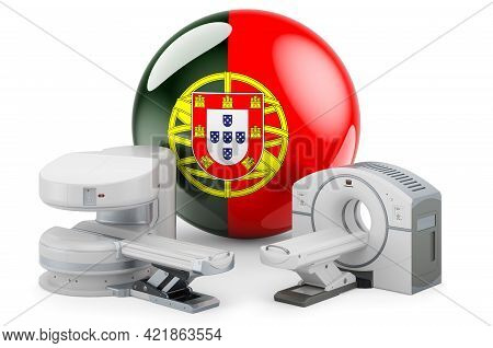 Mri And Ct Diagnostic, Research Centres In Portugal. Mri Machine And Ct Scanner With Portuguese Flag