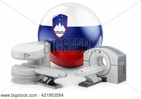 Mri And Ct Diagnostic, Research Centres In Slovenia. Mri Machine And Ct Scanner With Slovenian Flag,