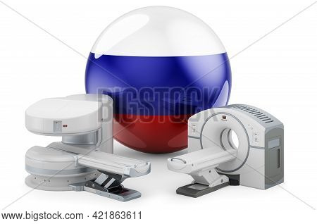 Mri And Ct Diagnostic, Research Centres In Russia. Mri Machine And Ct Scanner With Russian Flag, 3d