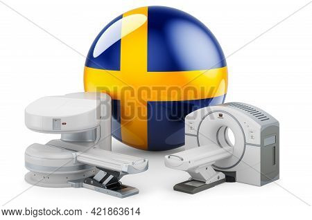 Mri And Ct Diagnostic, Research Centres In Sweden. Mri Machine And Ct Scanner With Swedish Flag, 3d