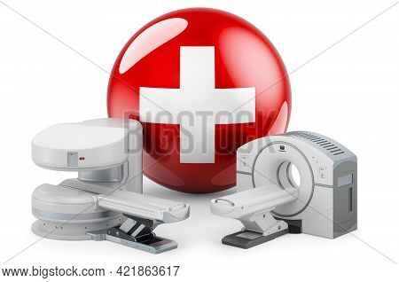 Mri And Ct Diagnostic, Research Centres In Switzerland. Mri Machine And Ct Scanner With Swiss Flag,