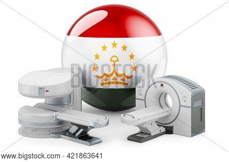 Mri And Ct Diagnostic, Research Centres In Tajikistan. Mri Machine And Ct Scanner With Tajik Flag, 3