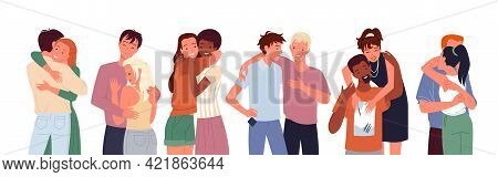 Happy People Friends Hug Cuddle Set, Diverse Woman Man Standing Together, Couple Hugging