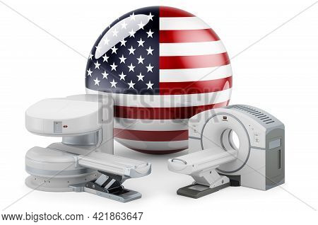 Mri And Ct Diagnostic, Research Centres In The Usa. Mri Machine And Ct Scanner With The United State