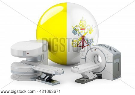 Mri And Ct Diagnostic, Research Centres In Vatican. Mri Machine And Ct Scanner With Vatican Flag, 3d