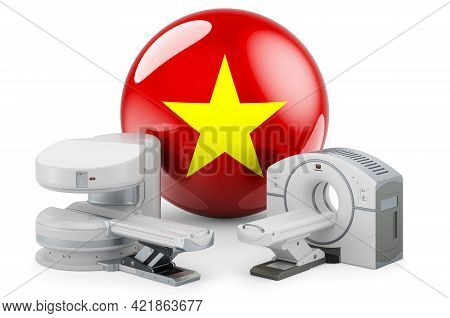 Mri And Ct Diagnostic, Research Centres In Vietnam. Mri Machine And Ct Scanner With Vietnamese Flag,