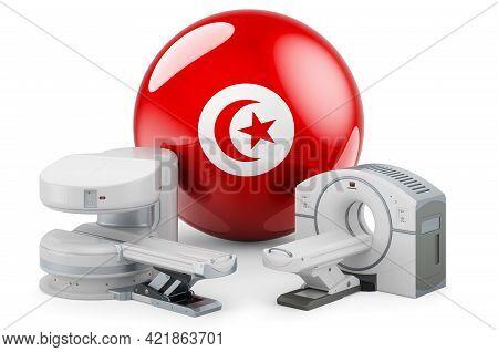 Mri And Ct Diagnostic, Research Centres In Tunisia. Mri Machine And Ct Scanner With Tunisian Flag, 3