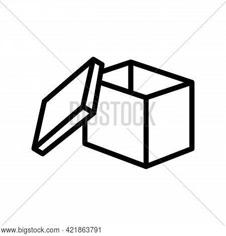 Storaging Goods Box Line Icon Vector. Storaging Goods Box Sign. Isolated Contour Symbol Black Illust