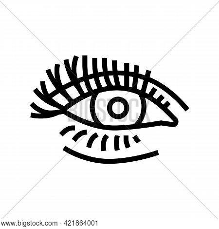 False Eyelashes Line Icon Vector. False Eyelashes Sign. Isolated Contour Symbol Black Illustration