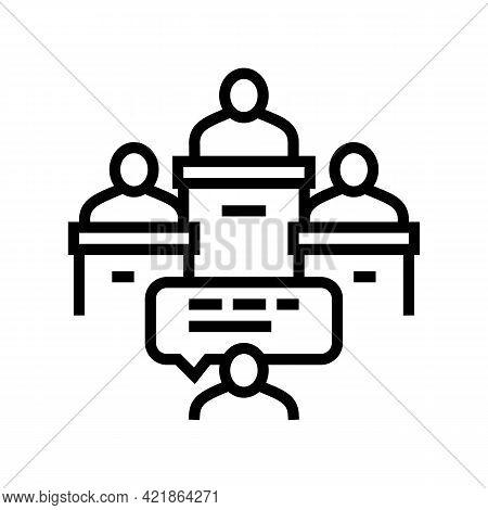 Litigation Law Procedure Line Icon Vector. Litigation Law Procedure Sign. Isolated Contour Symbol Bl