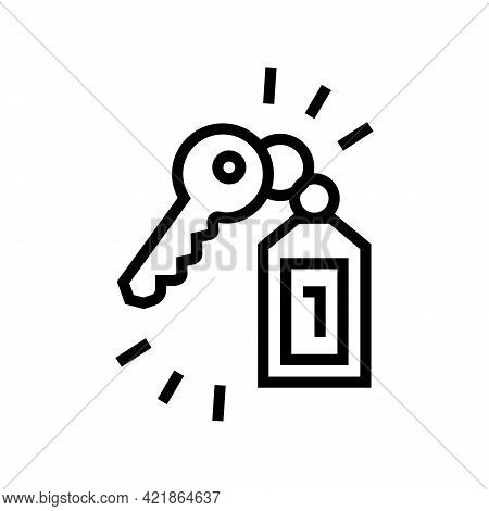 Key Of Apartment Motel Line Icon Vector. Key Of Apartment Motel Sign. Isolated Contour Symbol Black