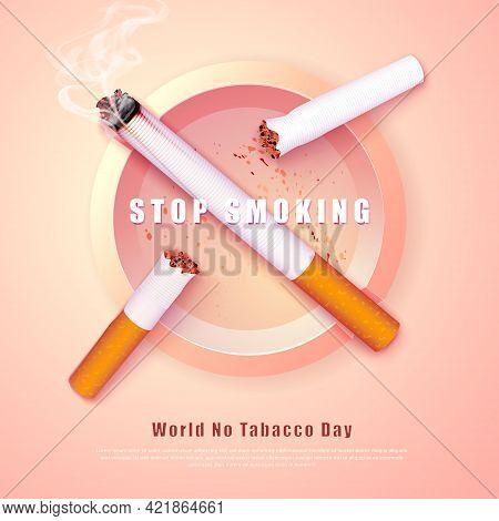 Stop Smoking Campaign Illustration No Cigarette For Health Broken Cigarettes And Ash Tray