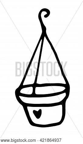 Sketch Doodle Flower Pot Hanging. Vector Flower Pot Hanging On A Hook. Hand-drawn Doodle-style Empty