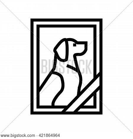 Dead Dog Pet Photo Line Icon Vector. Dead Dog Pet Photo Sign. Isolated Contour Symbol Black Illustra
