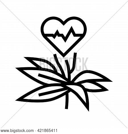 Natural Plant For Heartbeat Phytotherapy Line Icon Vector. Natural Plant For Heartbeat Phytotherapy
