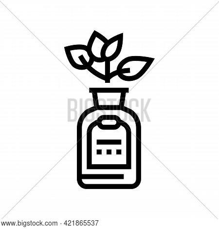 Natural Plant Phytotherapy Medicaments Bottle Line Icon Vector. Natural Plant Phytotherapy Medicamen