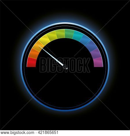 Speedometer, Gauge With Rainbow Colored Scale Fields, Colorful Subdivisions As Rating Indicator, Sem