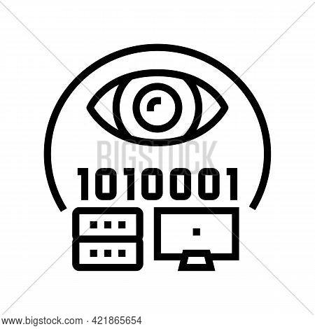 Electronic Fraud Line Icon Vector. Electronic Fraud Sign. Isolated Contour Symbol Black Illustration
