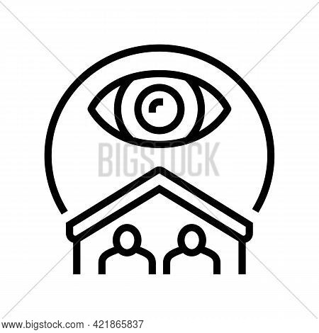 Cohabitation Surveillance Line Icon Vector. Cohabitation Surveillance Sign. Isolated Contour Symbol