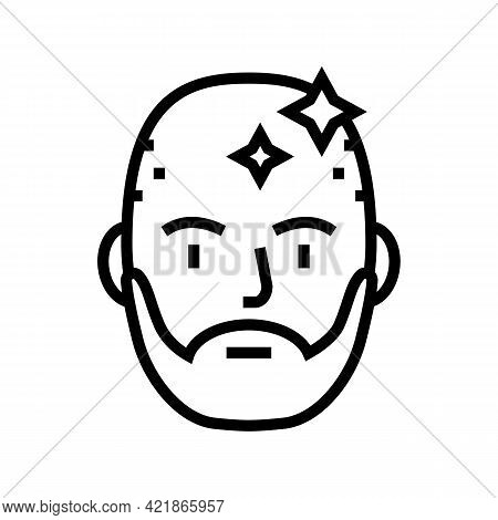 Bearded Man With Shaved Head Line Icon Vector. Bearded Man With Shaved Head Sign. Isolated Contour S