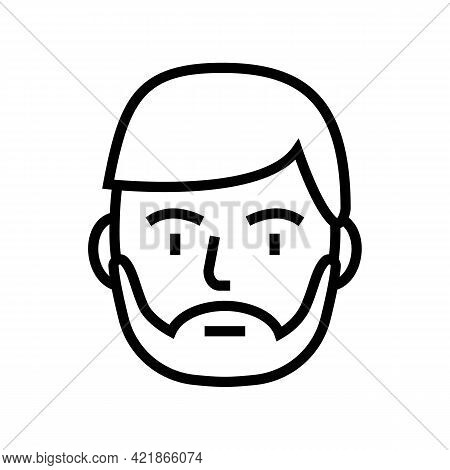 Bearded Man Line Icon Vector. Bearded Man Sign. Isolated Contour Symbol Black Illustration