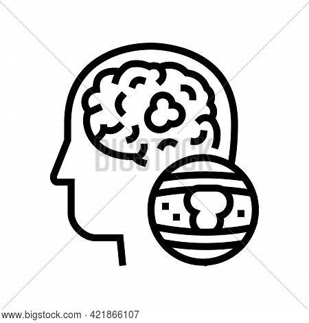 Brain Vessel Congestion Line Icon Vector. Brain Vessel Congestion Sign. Isolated Contour Symbol Blac