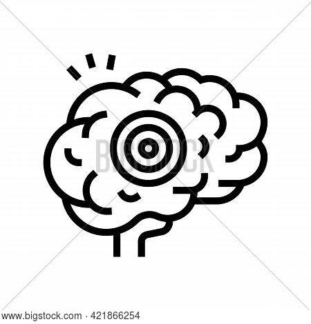 Brain Pain Line Icon Vector. Brain Pain Sign. Isolated Contour Symbol Black Illustration