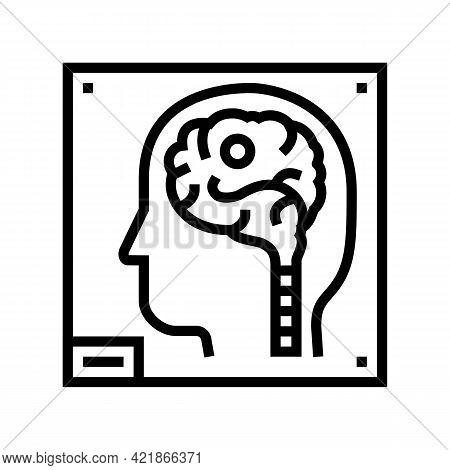 Human Brain X-ray Line Icon Vector. Human Brain X-ray Sign. Isolated Contour Symbol Black Illustrati