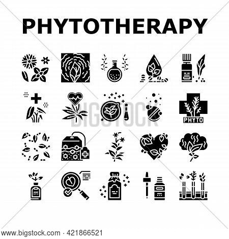 Phytotherapy Treat Collection Icons Set Vector. Phytotherapy Medicaments From Flowers And Plant Natu