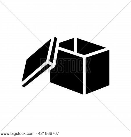 Storaging Goods Box Glyph Icon Vector. Storaging Goods Box Sign. Isolated Contour Symbol Black Illus