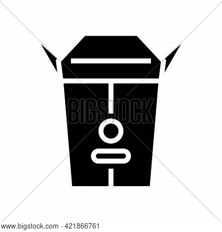 Takeaway Food Box Glyph Icon Vector. Takeaway Food Box Sign. Isolated Contour Symbol Black Illustrat