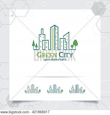 Real Estate Logo Design Concept Of Green City Building Illustration. Property Logo Vector For Constr