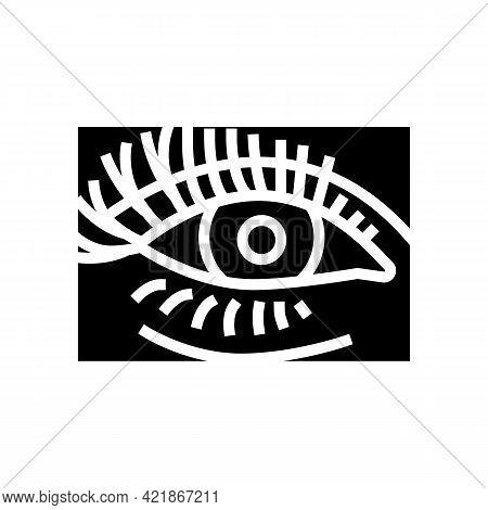 False Eyelashes Glyph Icon Vector. False Eyelashes Sign. Isolated Contour Symbol Black Illustration
