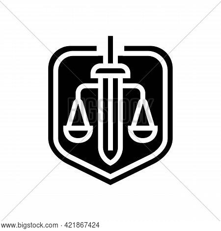 Justice Law Glyph Icon Vector. Justice Law Sign. Isolated Contour Symbol Black Illustration