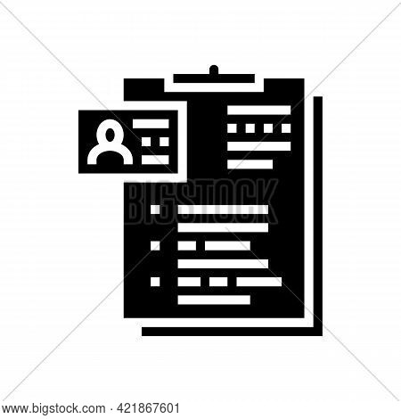 Form Of Motel Visitor Glyph Icon Vector. Form Of Motel Visitor Sign. Isolated Contour Symbol Black I