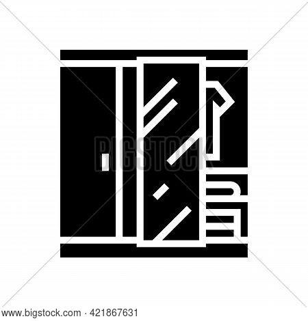 Wardrobe Room Motel Glyph Icon Vector. Wardrobe Room Motel Sign. Isolated Contour Symbol Black Illus